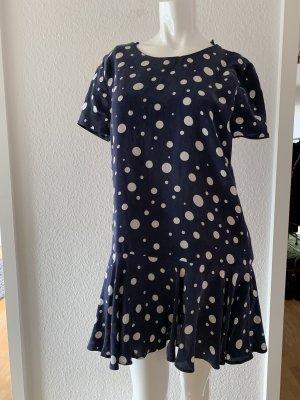 Zara Mini vestido blanco-azul oscuro