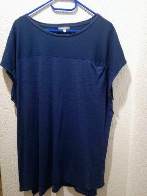 Gerade geschnittenes dunkelblaues Shirt -Materialmix -