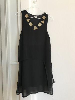 Gerades Kleid mit goldenen Applikationen schwarz 36/S