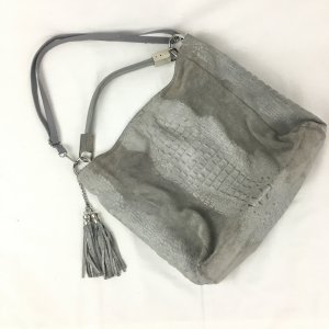 Genuine Leather Pouch Bag grey-silver-colored leather
