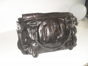 Carry Bag black brown-dark brown imitation leather