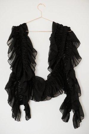 Geraffter Schal / Tuch schwarz