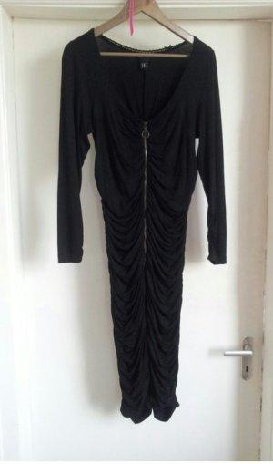 Gerafftes Kleid mit durchgehendem Reißverschluss