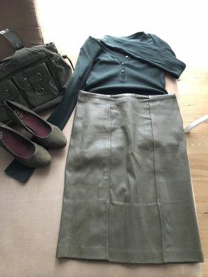 Gerald Darel Kalbsleder Rock Lederrock Midi Khaki Designer Outfit
