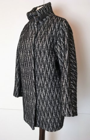 * GERARD DAREL * kurzer Wollmantel schwarz weiß oversize ZICK ZACK  RETRO Wolle Alpaca Mohair Gr 38 40 M L