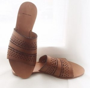 Gerard Darel Luxus Leder Sandalen Designer Schuhe Premium cognac braun 38 NEU