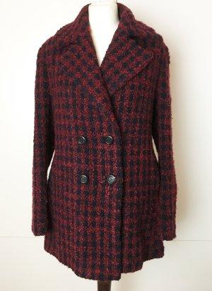 * GERARD DAREL * NEU ! kurzer Wollmantel rot schwarz kariert Wollmischung Gr42 40  L XL