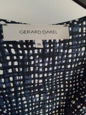 Gerard Darel: Seidenkleid, Grösse 38, schwarz-blau-weiss