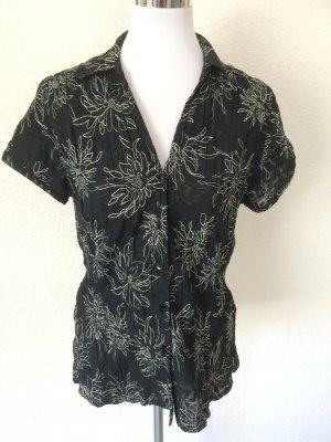 geriffelte Bluse mit Blumenmuster von Canda - Gr. 40