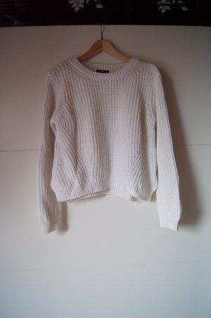 Gerippter Pullover, Rippenstrick, mit Seitenschlitzen in weiß von H&M