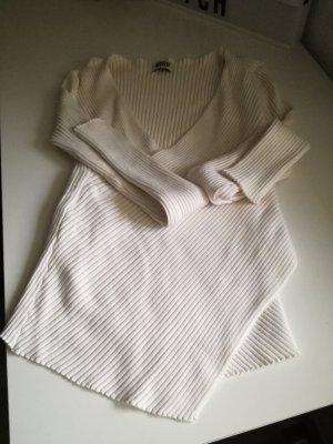 Gerippter Pullover V Ausschnitt XS
