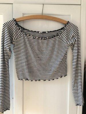 Only T-shirt court blanc-bleu foncé