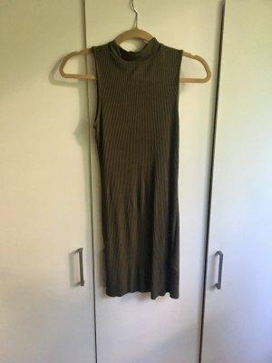 Geripptes Kleid in Crop-Optik (Khaki)