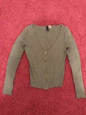 H&M V-hals shirt lichtgrijs-grijs