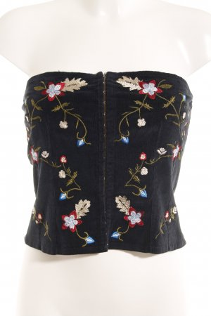 Germano Zama Corsage topje donkerblauw bloemenprint casual uitstraling