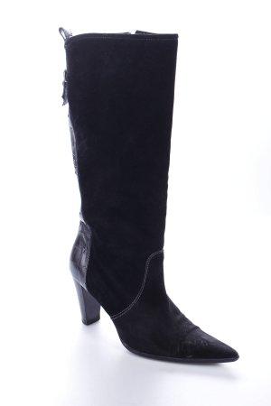 Gero Mure High Heel Stiefel schwarz-silberfarben Animalmuster Materialmix-Look