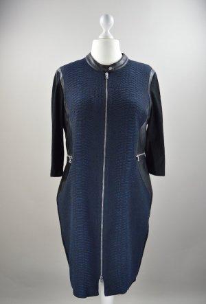 Gerry Weber Abendkleid mit Ledereinsatz und Muster schwarz Größe 46