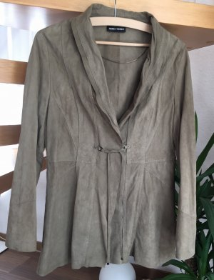 GERRY WEBER Blazer Wildleder Gr. M / 38 Lederblazer khaki grau braun taupe leichte dünne Lederjacke