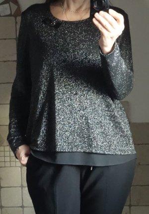 Gerry Weber, elegantes hochwertiges Shirt mit Glitzer, edel, Abendgarderobe, doppelte Lage, zartes, feines Material, Rundhals, schwarz, silber, kleine Masche beim Ausschnitt, Langarm, A-Linie, am Rücken ein kleiner Schlitz auf der oberen Lage, untere Lage