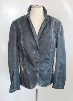 Gerry Weber Grau Jacke XL 44 Blazer Stretch Jersey Patina Shabby Jeans bequem Lagenlook
