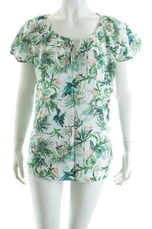 Gerry Weber Kurzarm-Bluse weiß-grün florales Muster Casual-Look