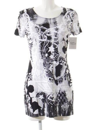 Gerry Weber Kurzarmkleid weiß-schwarz abstraktes Muster