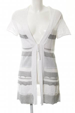 Gerry Weber Short Sleeve Knitted Jacket white-grey striped pattern casual look