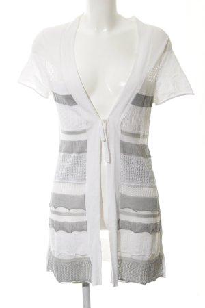 Gerry Weber Cardigan a maniche corte bianco-grigio motivo a righe stile casual