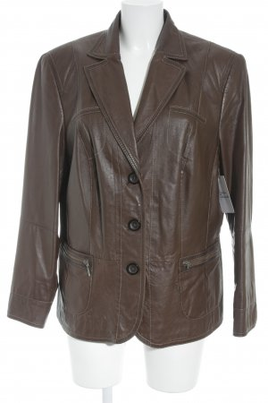 Gerry Weber Giacca in pelle marrone stile casual