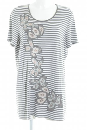 Gerry Weber Camisa larga blanco-marrón grisáceo estampado a rayas look casual