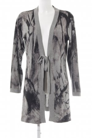 Gerry Weber Lang gebreid vest zwart-grijs kleurvlekken patroon