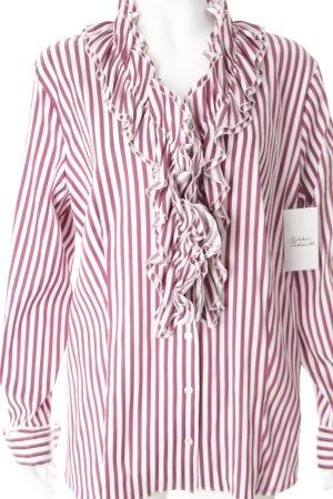 Gerry Weber Rüschen-Bluse purpur-weiß Streifenmuster Romantik-Look