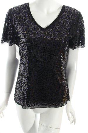 Gerry Weber Shirt schwarz-dunkelviolett Glitzer-Optik