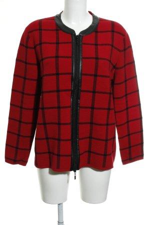 Gerry Weber Giacca in maglia rosso-nero motivo a quadri stile casual