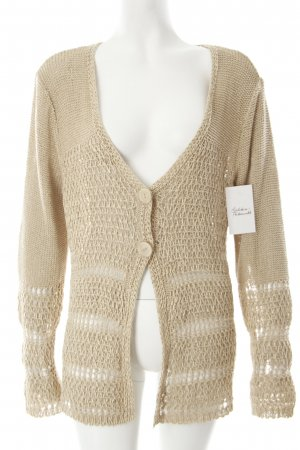 Gerry Weber Strickjacke sandbraun Lochstrickmuster Casual-Look