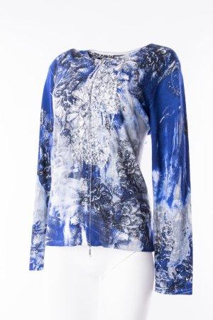 GERRY WEBER - Strickweste mit floralem Print und Glitzerdetails Blau