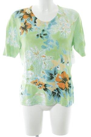 Gerry Weber T-shirt verde neon-arancione chiaro motivo floreale stile classico