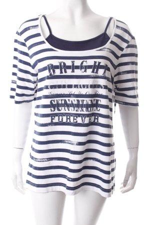 Gerry Weber T-Shirt weiß-dunkelblau Schriftzug gedruckt Casual-Look