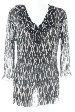 Gerry Weber Transparenz-Bluse schwarz-graubraun abstraktes Muster Elegant