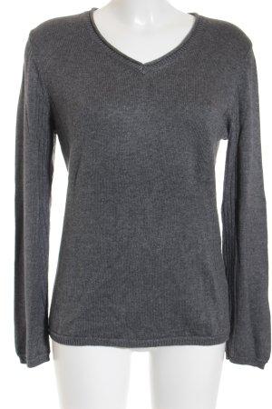 Gerry Weber V-Ausschnitt-Pullover grau-hellgrau meliert Casual-Look