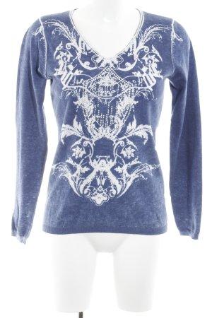 Gerry Weber V-Ausschnitt-Pullover weiß-stahlblau Ornamentenmuster Casual-Look