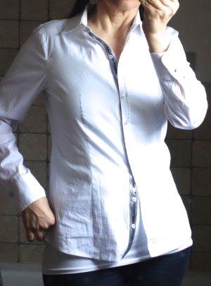 Gerry Weber, weiß, reinweiß elegante Hemdbluse mit glitzernder Paillettenkante