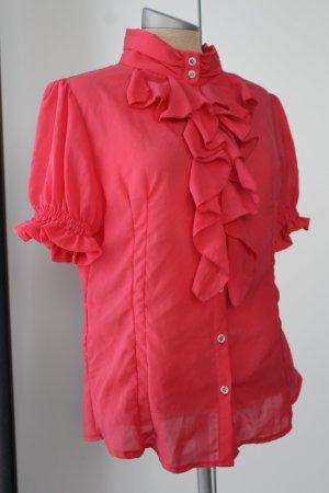 gerüscht Kurzarm Bluse koralle rot pink Gr. 42 L Büro Italien Rinascimento