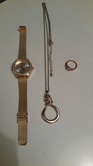 Geschenkbundle  (Uhr, Kette, Ring) aus Roségold