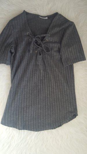 Geschnürtes geripptes T-shirt dunkelgrau