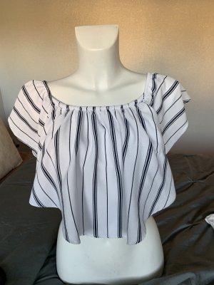 Bershka Carmen shirt wit-zwart
