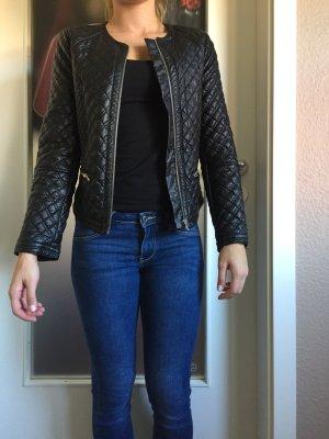 Gesteppte Kunstleder-Jacke mit Reißverschluss