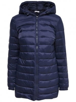 Jacqueline de Yong Quilted Coat dark blue polyester