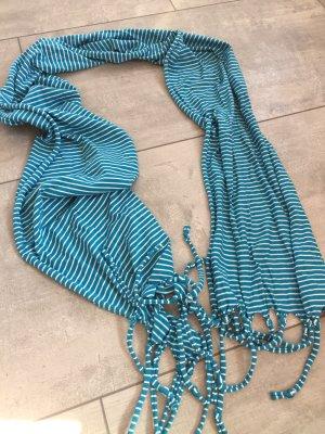 Écharpe à franges bleuet-blanc