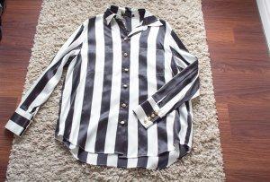 Balmain for H&M Blusa de seda negro-blanco Seda